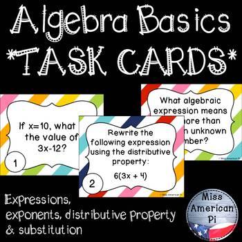Algebra Basics Task Cards