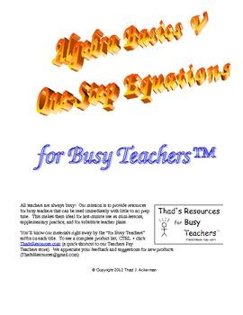 Algebra Basics V – One-Step Equations for Busy Teachers