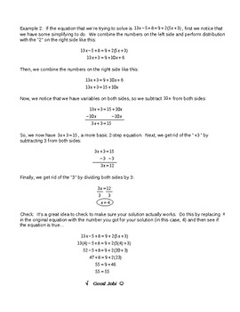 Algebra Basics VIII – Equations with Variables on Both Sides for Busy Teachers