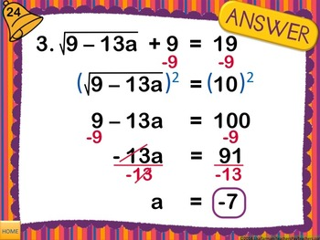 Algebra Bellwork PowerPoint - SET 2 - 48 days of problems
