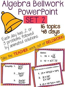 Algebra Bellwork PowerPoint - SET 2 - 48 days of problems