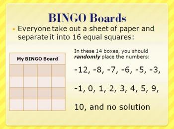 Algebra Bingo Review