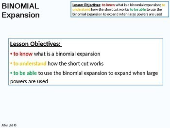 Algebra: Binomial Expansion / Theorem (+ resources)