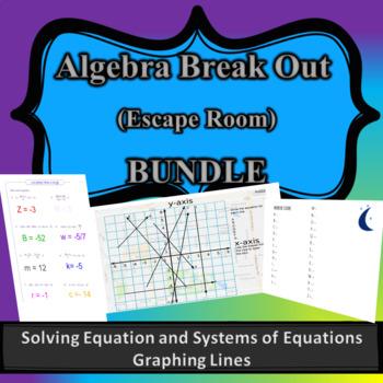 Algebra Break out Bundle (Escape Room) Solving Equation, Graphing Lines, System