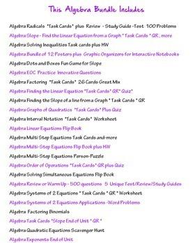 Algebra Bundle of Activities #2