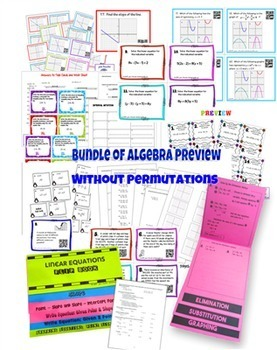 Algebra Bundle of Activities Version 2 - No Statistics