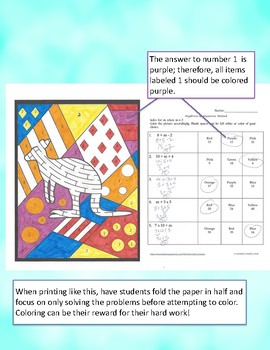 Algebra Bundle: Differentiated Color by Answer Fun Pages