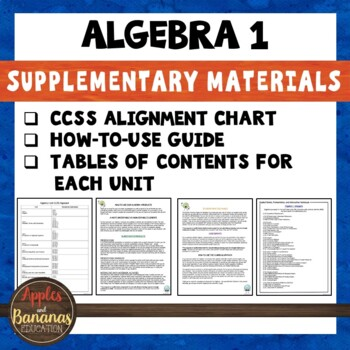 Algebra Bundle Supplementary Materials and CCSS Alignment Guide