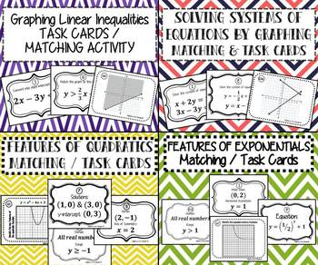 Algebra Bundle - TASK CARDS & MATCHING ACTIVITIES