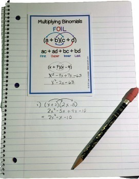 Algebra Interactive Notebook Pages and Posters Bundle