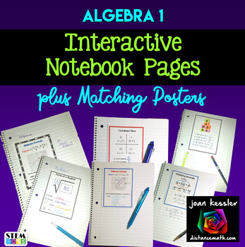 Algebra Interactive Notebook Pages and Posters Set for Word Wall