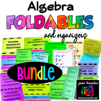 Algebra Bundle of Foldable and Flippable Organizers for Interactive Notebooks