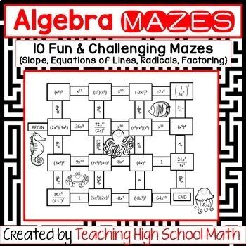 Algebra Bundle of Mazes (Slope, Equations of Lines, Radicals, Factoring)