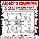 Algebra Bundle of Mazes (Slope, Equations of Lines, Radicals, Factoring)