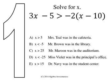 Algebra CLUE Solving Inequalities review game