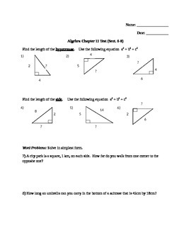 Algebra Chapter 11 Test (Sect. 6-8)