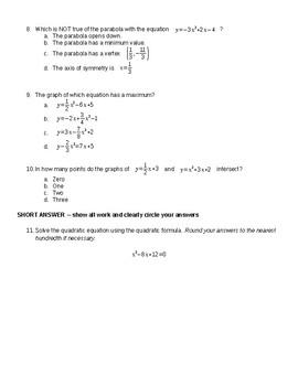 Algebra Chapter 8 Test Quadratic Equations and Functions