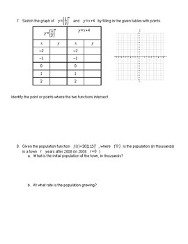 Algebra Chapter 9 Test Exponents, Exponential Functions and Sequences