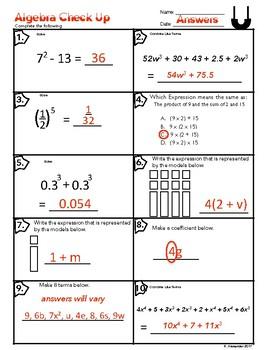 Algebra Check Up