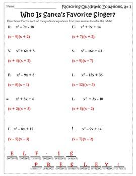 Algebra Christmas Activity {Christmas Algebra 1 Activitities}