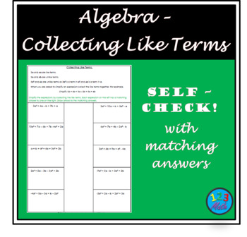 Algebra - Collecting Like Terms.
