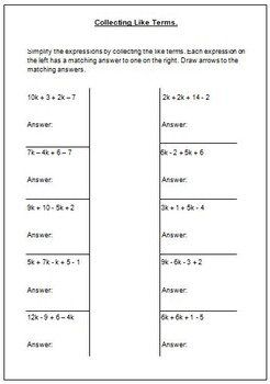 Algebra - Collecting Like Terms by 123 Math | Teachers Pay Teachers