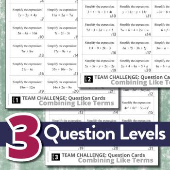 Combining Like Terms (Algebra: TEAM CHALLENGE task cards)