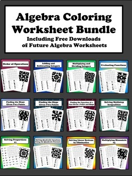 Algebra Coloring Worksheet Bundle