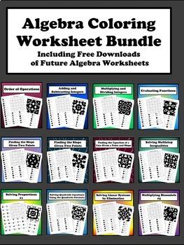 Algebra Coloring Worksheet Bundle