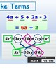 Algebra Combine Like Terms Anchor Chart Poster