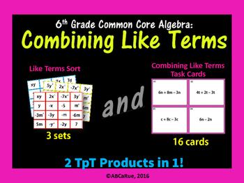 Algebra: Combining Like Terms