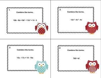 Algebra-Combining Like Terms-40 Task Cards
