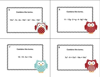 Algebra-Combining Like Terms-40 Task Cards