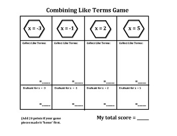 Algebra: Combining Like Terms Game