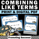 40 Combining Like Terms Equations, Algebra Task Cards, Middle School Math Games