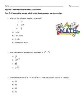 Algebra Common Core Math Pre-Assessment