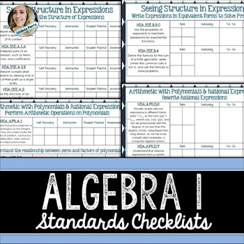 Algebra Common Core Standards Checklists