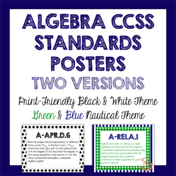 Algebra Common Core Standards Posters