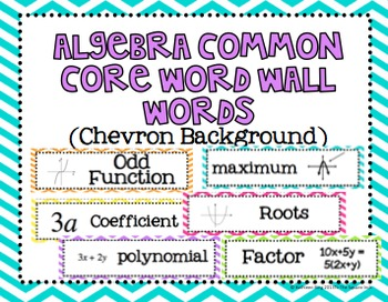 Algebra Common Core Word Wall Words- Chevron Backgrounds
