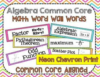 Algebra Common Core Word Wall Words- Neon Chevron Print