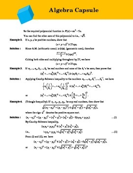 Algebra Compendium for Math Olympiad