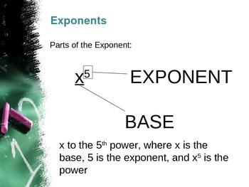 Algebra Concepts:  Exponents
