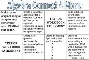 Algebra Connect 4 Menu