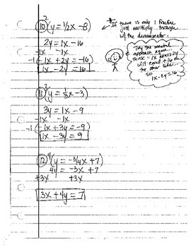 Algebra: Converting Linear Equations into Standard Form - Notes and Practice