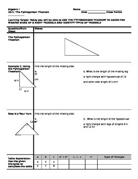 Algebra - Cornell Notes - Unit 10 - Radical Expressions and Equations