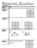 Algebra - Cornell Notes - Unit 9 - Quadratic Functions and Equations