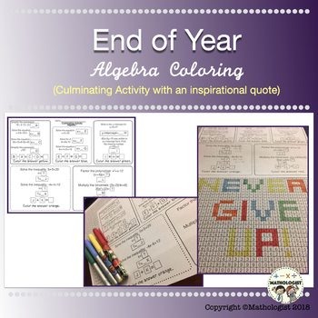 Algebra, Culminating Activity, Coloring, End of year