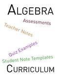 Algebra Curriculum and Student Workbook - All Six Units
