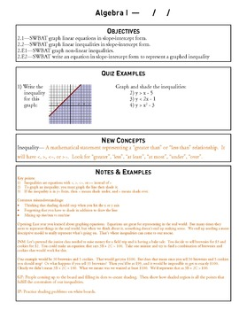 Linear Equations and Inequality - Unit 2 Algebra Curriculum and Student Workbook