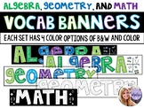Algebra, Geometry, Math - Banner Bulletin Board Word Wall